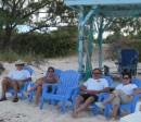 Cheryl, Joe (Onward), Jim and Leslie (Just Limin) on Compass Cay beach