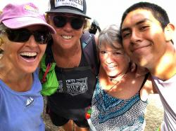 Heidi, Christina, and Judy stopped for a selfie at Playa Colomitas - suddenly we were photobombed by Fisher, our new Mexican friend! :-D