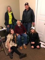 Clockwise: Heidi with brother Paul and nieces SJ and Noelle with their Grandpa Verne.