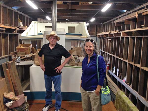 "Cap TD & Heidi at Marshall Boatworks, Tomales Bay aboard f/v ""Blue Sea"" currently in the boat shed, built in 1915.  This is the same shed where f/v ""Sea Pride"" was rebuilt and re-launched in the early 1970"