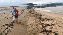 "As kids, Mom Jean taught us ""Always leave any place cleaner than you found it."" So as soon as the beach was open after Hurricane Lorena, we headed down with garbage bag. Photo on left is before, photo on right is after 8 of us cleaned the beach full-tilt-boogies for two hours, or a total of 16-man hours, to ensure none of it washed back into the ocean!"