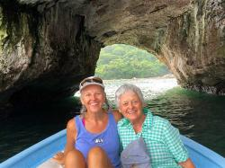 "We hired Johnny Bravo with his panga ""Andrea"" for a fabulous half-day of snorkeling and hiking to waterfalls. Here we are at the Los Arcos caves, a rookery for pelicans and blue-footed boobies. The caves can make for good snorkeling and kayaking too."
