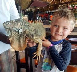 Lunch stop at Las Animas where Maverick got to hold a giant iguana. He wasn