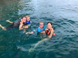 Mike, Mav, Kyen, and Sara, the boys took like fish to water on their first snorkel adventure at Los Arcos.