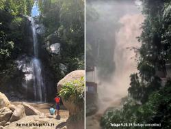 Yelapa waterfalls on left, the day we visited with Mom Jean and had a wonderful swim. On the right was taken 2-days later (saw this in a video online, apologies for no photo credit!) as Hurricane Lorena was passing through. It