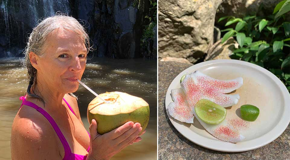 Of course, we had to stop for the traditional drinking coconut on our way back down to the beach. You put the lime in the coconut and shake it all up... along with a little chili lime salt, Yum!