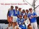 Due West Vic-Maui Yacht Race Crew 1996: (back row left to right) Dick, Jim, Captain Kirk, Heidi, Marty,  Pat, (front row left to right) Karyn and Mark. Hard to believe it