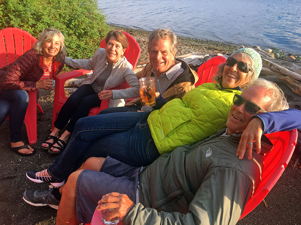 Happy Hour on the beach with our BESTIES and fellow sailors, Carol, Devon, Jim, and John near Port Townsend... is quite a bit cooler than beach happy hour in PV but more  FUN because we