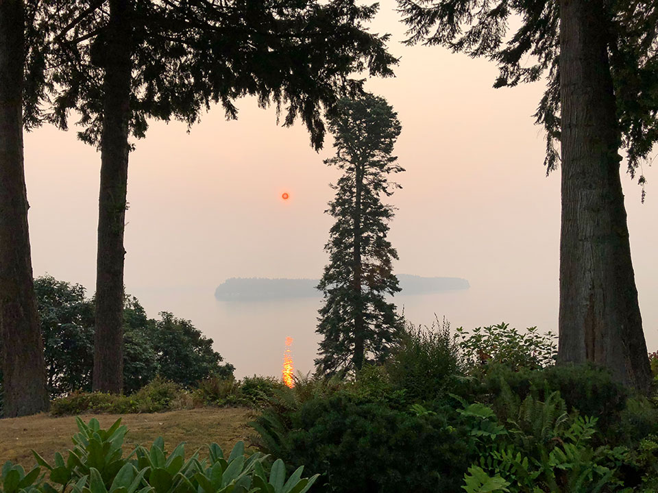 SMOKEY view from Whidbey Island across to Hat Island and you can