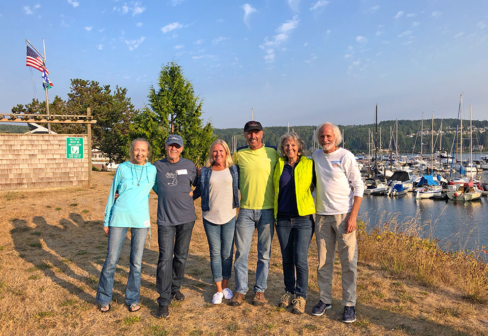 Hanging out with sailing BFFs Patti, Frosty, Chris, and Eric at the Bob Perry Rendezvous in Port Ludlow. Total coincidence that we happened to be in the area that weekend. We left from there with Due West three years ago.