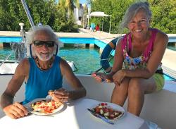 Early dinner at 4:30pm, Kirk & Heidi enjoying their mini pizzas with Capitana Teresa