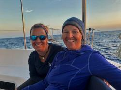 Val and Heidi bundled up for our night watch. Even in the tropics it gets chilly when the sun goes down and it's blowing 20kts in your face! Heidi's cozy hat from her brother Paul has constellations on it, including the Big Dipper and Orion, and we saw both that night.