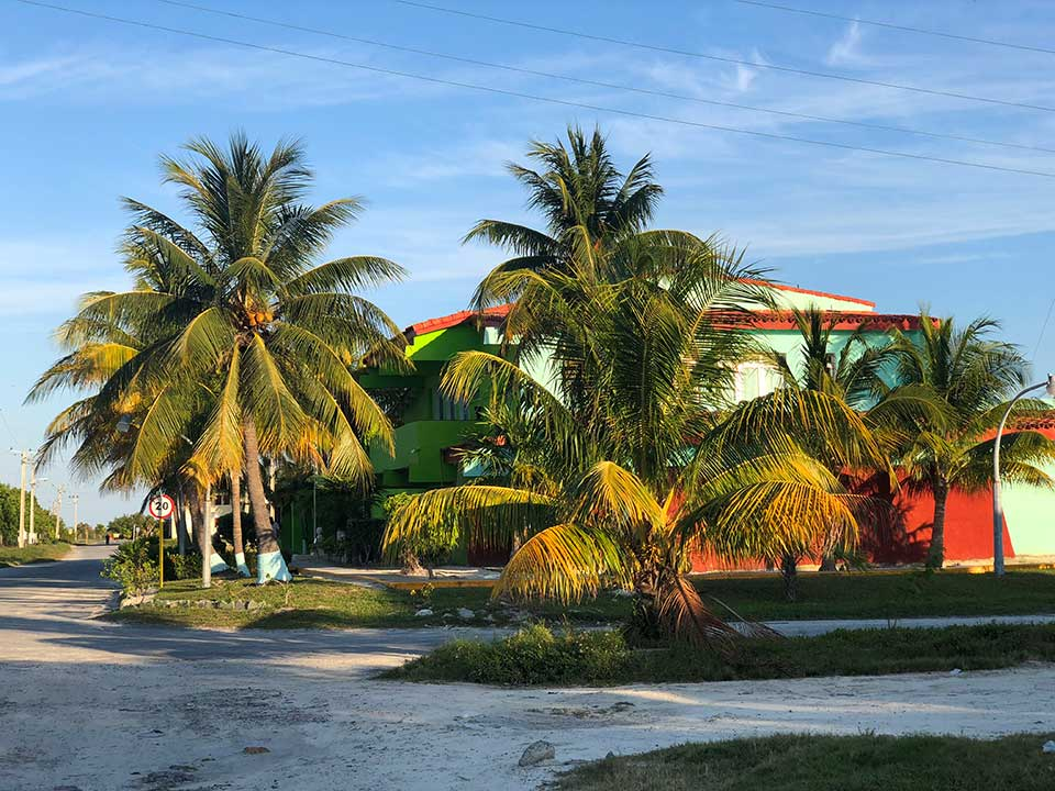 The small town on Cayo Largo mostly houses employees who work at the all inclusive resorts, or at the bank, small tienda, tobacco store, museum, and turtle sanctuary.  This is one of the employee housing dormitories. Employees work for 20-days straight, then get 10-days off to go home via ferry boat. Rinse and repeat. The bank was a funny place, we wanted to take a photo but no phones/cameras allowed. There were at least 10 employees in there, but only one teller open. And the waiting area had a very old, tired, bottomed out floral couch and recliner chairs to sit in. Hilarious!