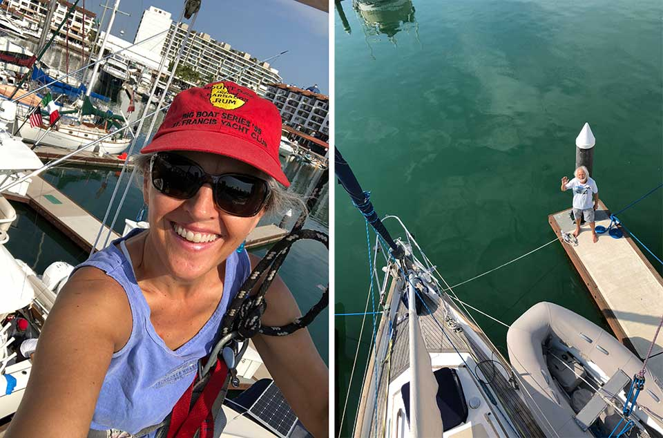 No height-freight here... Heidi loves going aloft to do projects on the mast and rigging. Good thing too, because it