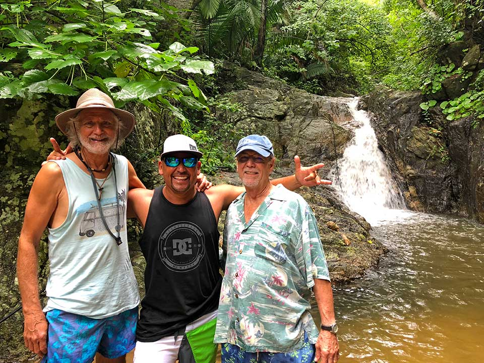 Kirk, Juan Bravo, and Frosty at the waterfalls above Colomitos Beach... freezing cold water was refreshing on a hot day.