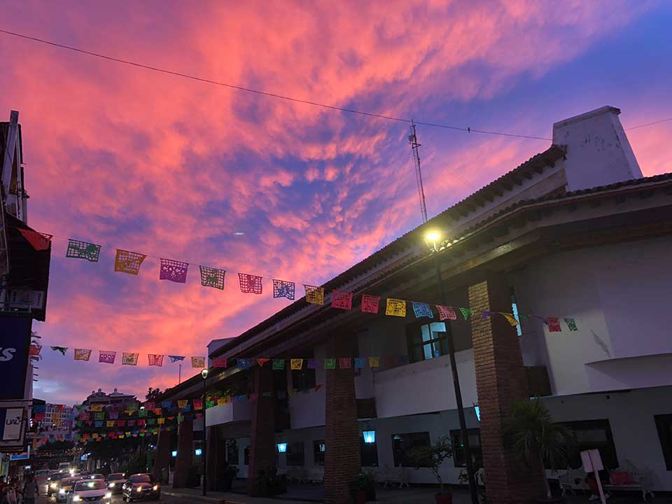 Puerto Vallarta is known for their beautiful sunsets... no filters! This lovely one was taken on the night of Dia de Los Muertos.