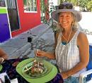 Heidi is in heaven at Organic Love restaurant in La Cruz. Check it out if you