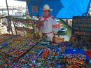 One of the local Huichol artisans at the Marina Vallarta Thursday Evening Market ~ this was the BEST artisan market we