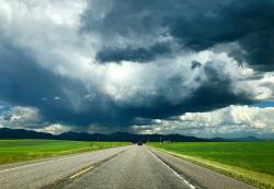 Dramatic Southeast Idaho sky as we drive towards Jackson Hole.