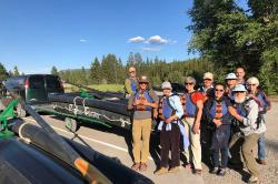 Family Float Trip with Barker-Ewing Scenic: Eric (BE Boatman), Tate, Mom-Jean, Teresa, Arne, Gioconda, Nancy, Andy, Estéban, and Barb.