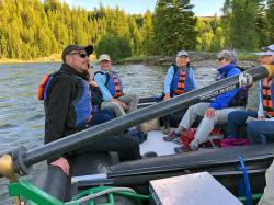 Evening Float Trip with Barker-Ewing Scenic on the Snake River, in Grand Teton National Park: Esteban, Gioconda, Arne, Mom-Jean, Teresa, and Heidi