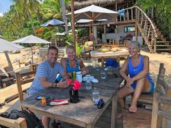 Ahhhh... the reward near the end of the hike. With Tim and Lisa, fueling up with agua maracuya (Passion Fruit water) and lunch at Maraikas Beach Club before we finish the last half-mile of this hike to Las Animas. In comparison, it