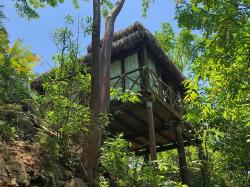 If you prefer your own jungle-treehouse check out Hotelito Mio. Still only accessible by hiking or boat, this one goes for around $500US/night! The jungle huts look cool as you