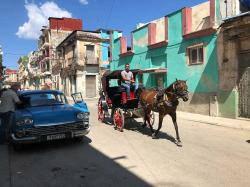 Havana: vintage American cars,  horse and buggies, and bright-colored Cuban architecture, it