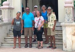 Our Salty Crew: Valerie, Rob, Kelly, Capitána Teresa, Heidi, and Kirk visiting Palacio de Valle in Cienfuegos.