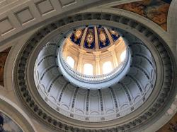 The dome ceiling of the former Presidential Palace of dictator Bautista, now housing the Museum of the Revolution.
