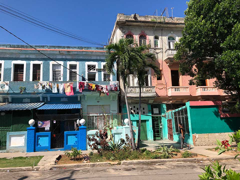 Brightly painted houses fill Havana
