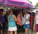 Heidi sundress shopping at the La Cruz Market.