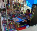 Vibrantly colored Huichol jewelry and clothing at the La Cruz Sunday Market.