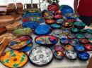 Huichol painted wood bowls at the La Cruz Sunday Market.