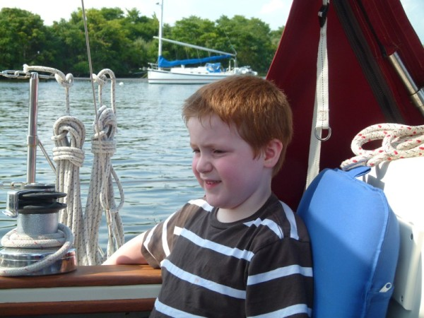We were lucky enough to spend an afternoon and evening with our daughter and our grandson Cooper. Here is Cooper sitting on our boat.