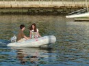 "The kids were bored so they asked to go out on their own in the dinghy.  ""Hey Grandpop, can we borrow the car?"""