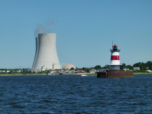 The nuclear power plant and lighthouse across from our next destination, Fall River, MA.