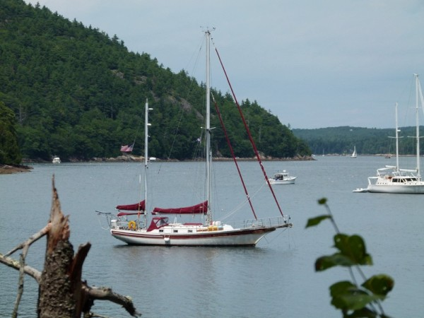 We anchored that night in a cove off of Somes Sound. It was next to two mountains that we ended up climbing too.