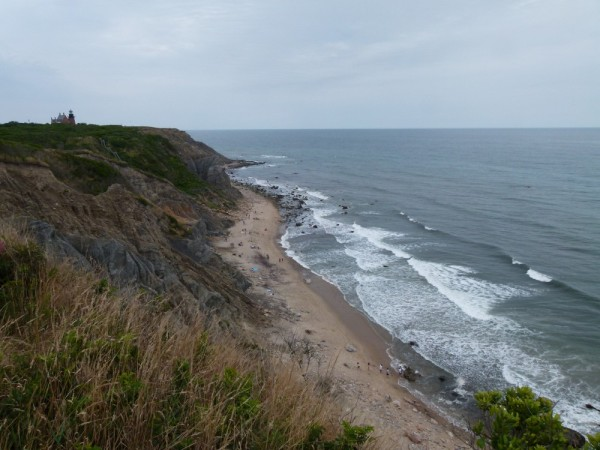 Another view of the Mohegan Bluffs from further down the road.  You can see the lighthouse and steps to the beach.