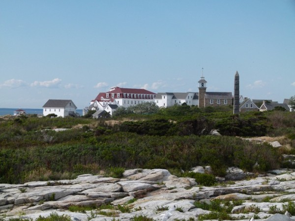 This is a view from the rocks back across the island towards the hotel and chapel.
