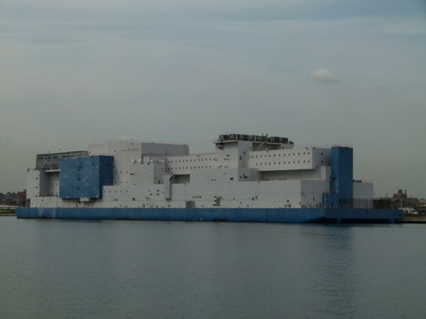 This is a prison barge across the water from Rikers Island - the New York City prison.  Guess this is for overflow.