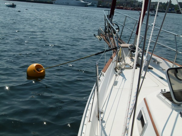 In case you have no idea what a mooring looks like - here we are on the mooring ball in New Bedford. It