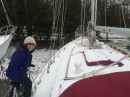 Of course it snowed when we got home!  Moonraker is waiting for us though.  Soon we will be back on her!