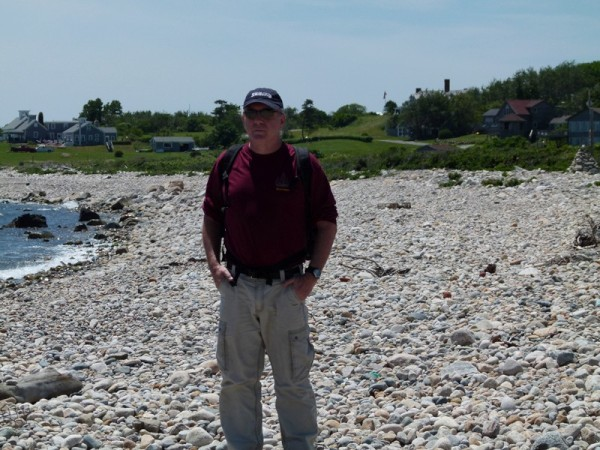 Here is Bill standing on the rock beach.