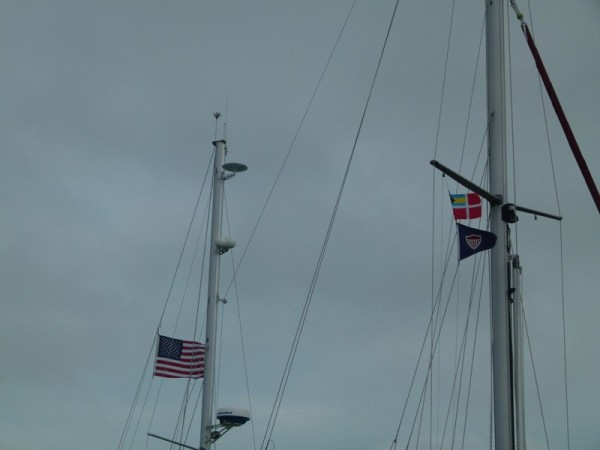 When we got to Bimini we went into a marina to make it as easy as possible for ourselves. Bill went to Customs and Immigration and when he had cleared in we were able to raise the Bahamian courtesy flag you see here, over our SSCA club flag.