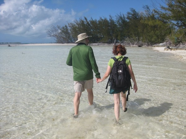 At one end there was no land we could walk on so we had to walk along the shallow water.