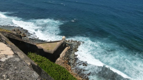 The next day we left the boat anchored and started touring the country.  This is one view from the Fort San Cristobal
