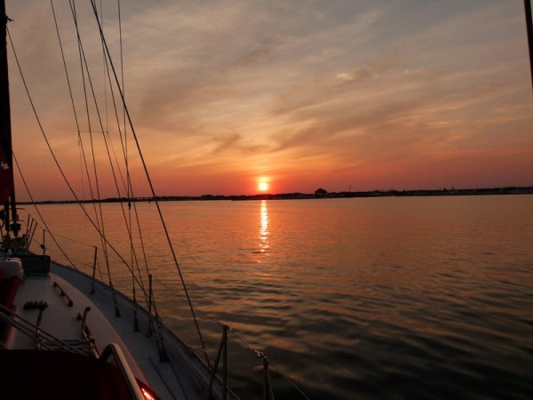 Sunset in Cape May from our anchored boat.