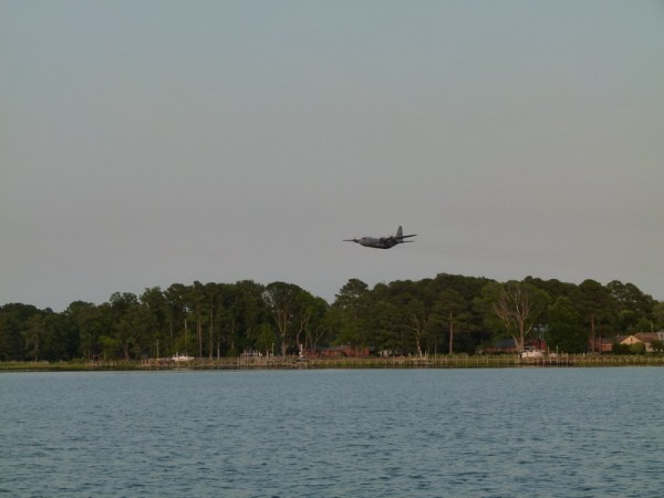 A C130 flying out of Langley Air Force Base - which we were anchored close to.