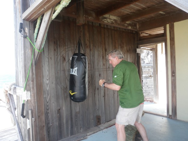 We stopped at Compass Cay where we had not gone before.  We took a very very long hike and found this gym in a hurricane wrecked house on the beach.  Bill decided to let off some steam!